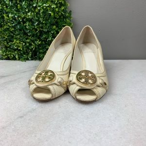 Tory Burch Leticia Ivory Leather Wedge